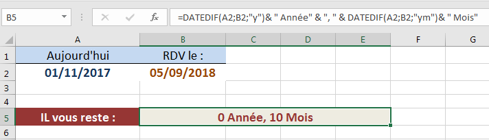DATEDIF calcul années et mois restants