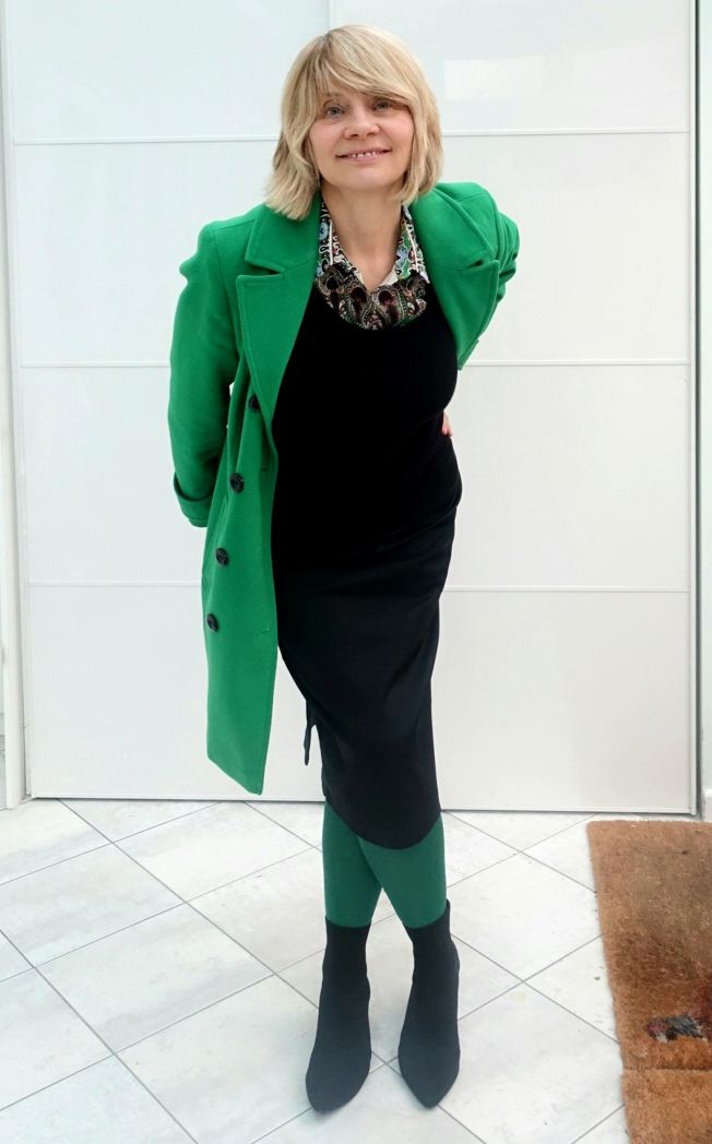 A dramatic green coat worn with black and green by over-50s blogger Gail Hanlon from Is This Mutton?