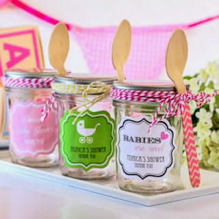 Personalized Baby Shower Party Candy Jar Favor mini mason