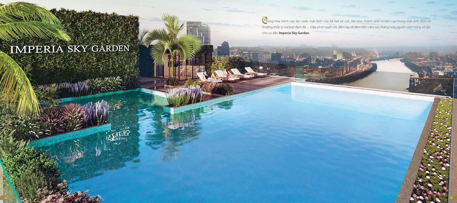 Bể bơi trên mây tại dự án chung cư Imperia Sky Garden Minh Khai