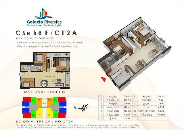 Thiết kế căn hộ F - 3 phòng ngủ tòa CT2A Gelexia Riverside