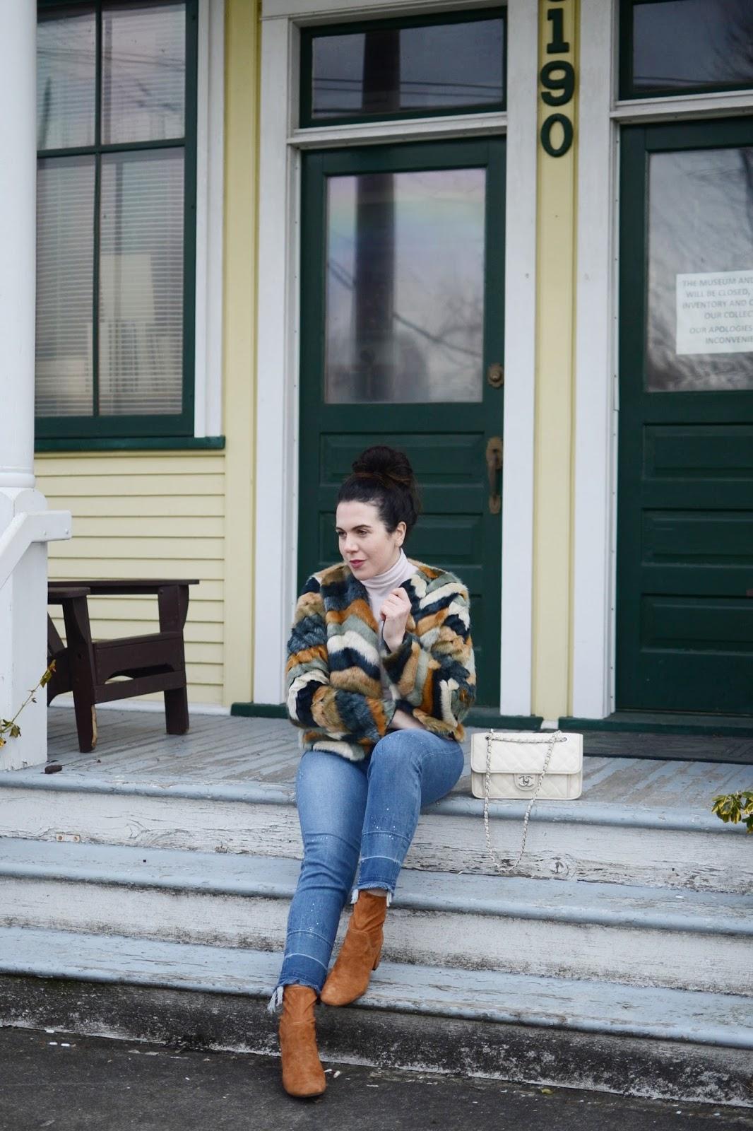 multicolor faux fur coat outfit hudson jeans m3de boots chanel french riviera bag vancouver fashion blogger