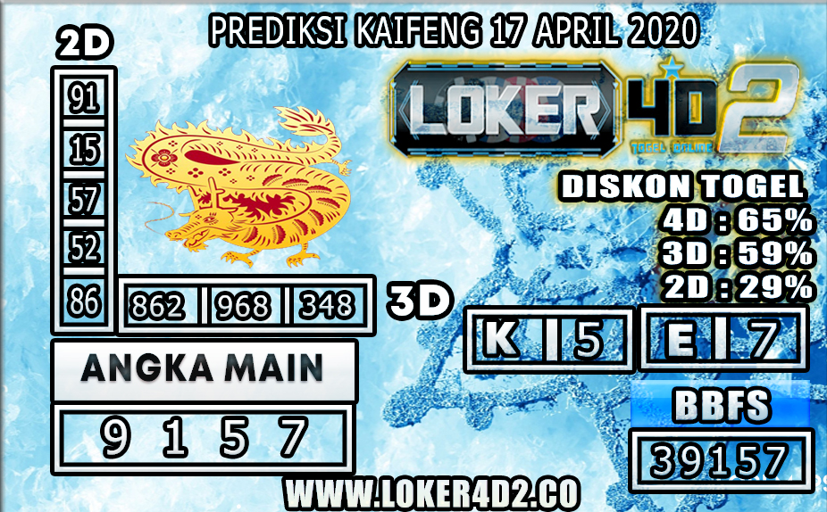PREDIKSI TOGEL KAIFENG LOKER4D2 17 APRIL 2020