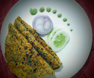 Serving Methi paratha with chutney, onion and cucumbers for Methi paratha recipe