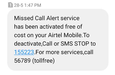 Airtel miss call alert