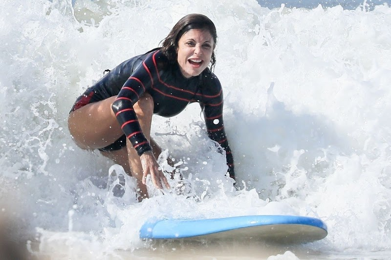 Bethenny Frankel Clicked in Wetsuit on the Waves in The Hamptons 28 Jul -2020