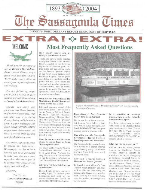 The Sassagoula Times 2004 Frequently Asked Questions Disney Port Orleans Resort
