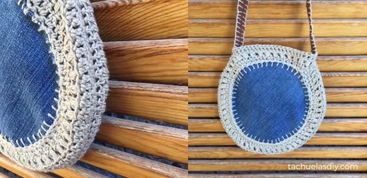 109 % sostenible, un bolso aprovechando retales y aplicando crochet en tela. RECICLAJE puro,todo el bolso esta realizado con restos de polipiel,bobina de lana, restos de tela vaquera de antiguos pantalones.