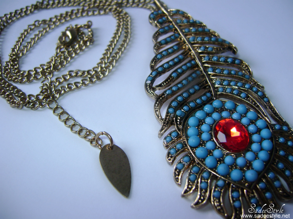 Sapphire Leaves Feathers Long Necklace By Romwe