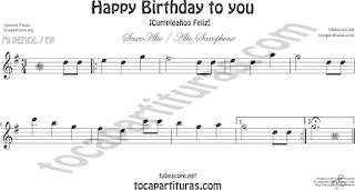 Saxofón Alto y Sax Barítono Partitura de Happy birthday to you (Cumpleaños Feliz) Sheet Music for Alto and Baritone Saxophone Music Scores