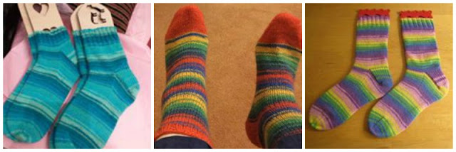 A collage photo showing three pairs of plain socks knitted in Winwick Mum yarn.  On the left is Seascape in shades of turquoise, in the centre is Brightside with red, green, navy, yellow and blue stripes; the socks have red toes, on the right is Wildflower in shades of pink, purple, yellow, green and cornflower blue