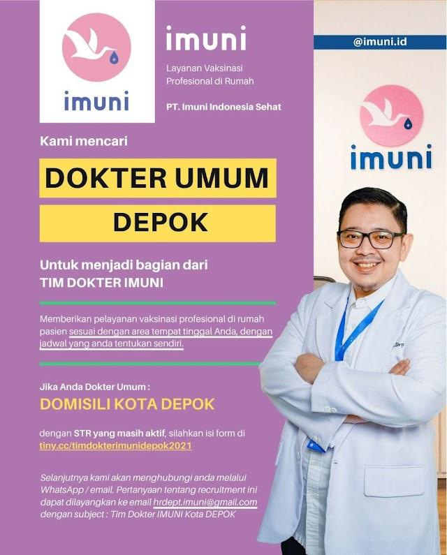 Loker Dokter Imuni (Layanan Vakisnasi Profesional di Rumah) Domisili Depok