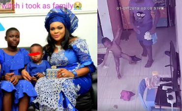 Nigerian Lady Shares CCTV Footages Of Her Househelp Assaulting Her 2-Year-Old Son And Giving Him Faeces To Eat (video)