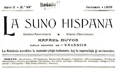 La Suno Hispana, revista de esperant, 1908