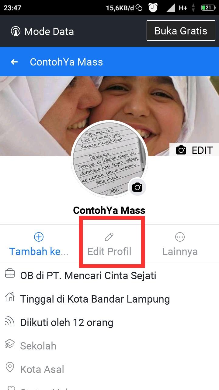 Merubah ttl facebook lite