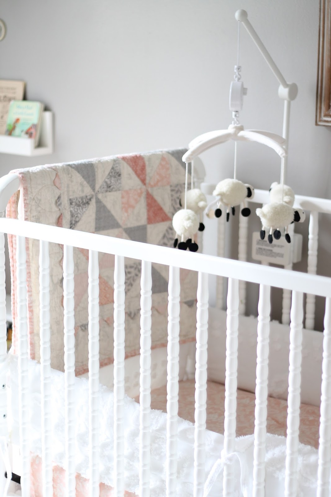 She Did Such A Great Job And I Am So Excited To Share Lauren S Peach Gray White Lamb Themed Nursery With You Today
