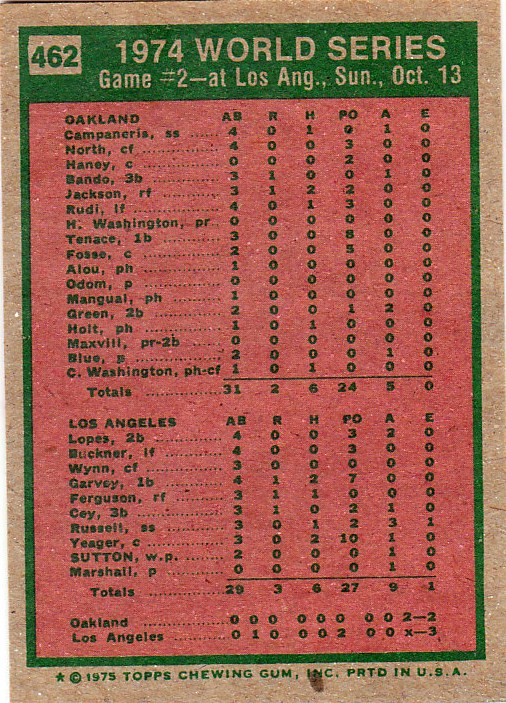 1975 Topps (it's far out. man): #462 - '74 World Series. Game 2