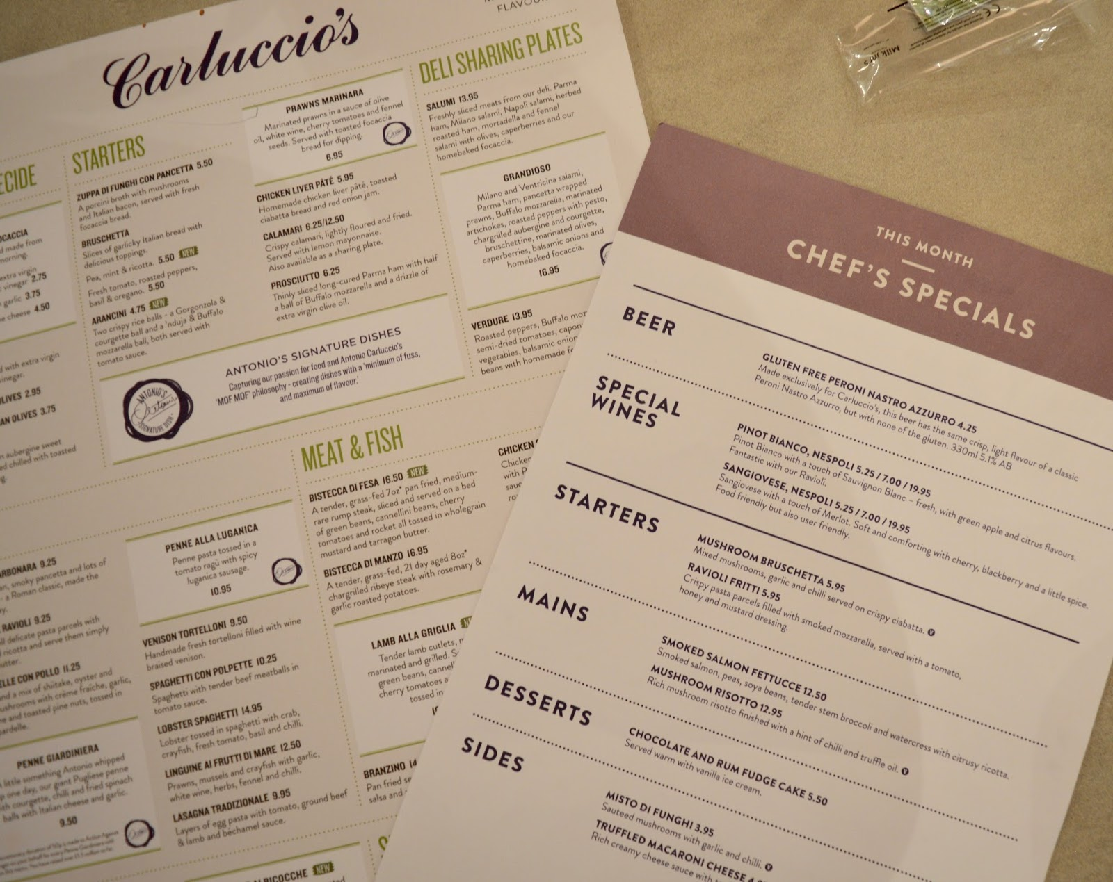 Carluccio's - intu Metrocentre | Children's Menu Review - main menu