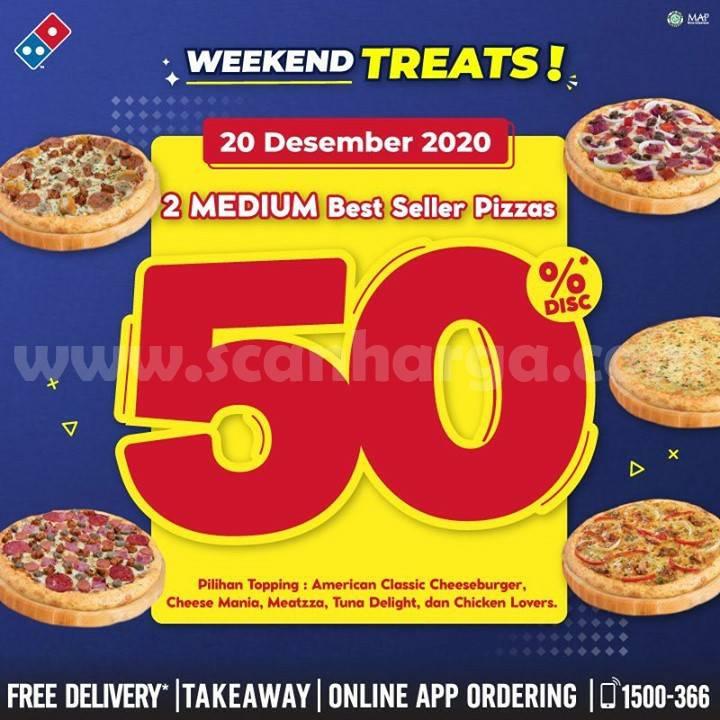 Domino's Pizza Weekend Treats! Beli 2 Best Seller Pizza Diskon 50%