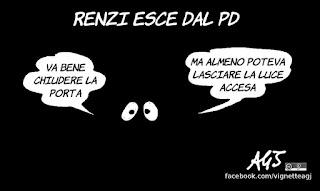renzi, pd, italia viva, sinistra divisa, politica, vignetta, satira