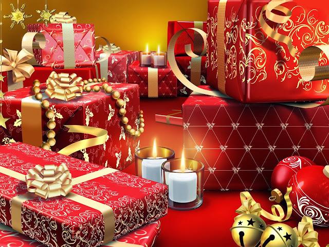 Wallpaper met rood met gouden kerstcadeau's