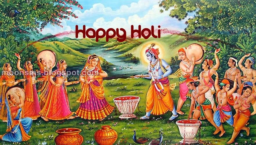 Holi festival wallpaper radha krishna Hindu god playing holi