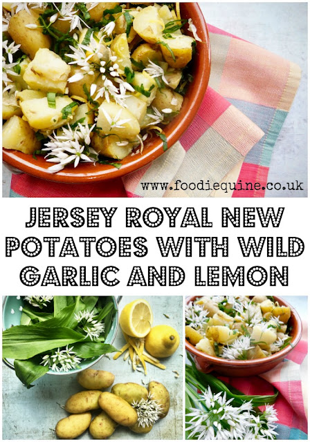 www.foodiequine.co.uk Jersey Royal new potatoes typically signify the start of Spring and are one of the most warmly anticipated seasonal produce items in the food calendar. In this recipe I've combined them with wild garlic, butter and lemon for a taste explosion of Spring flavours. Serve this vegetarian dish as a hot side or a warm salad.