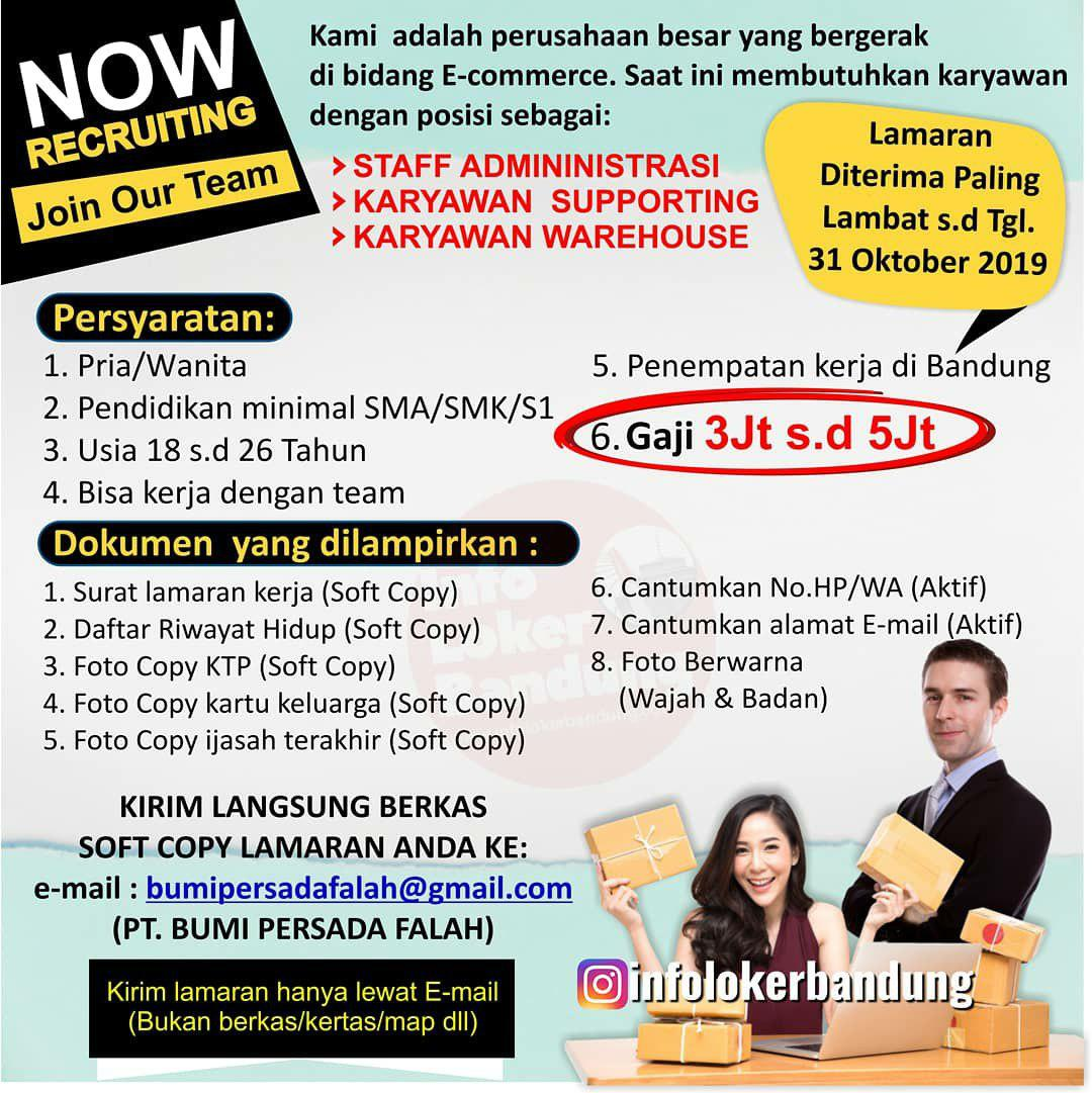 Lowongan Kerja PT. Bumi Persada Falah Bandung Oktober 2019