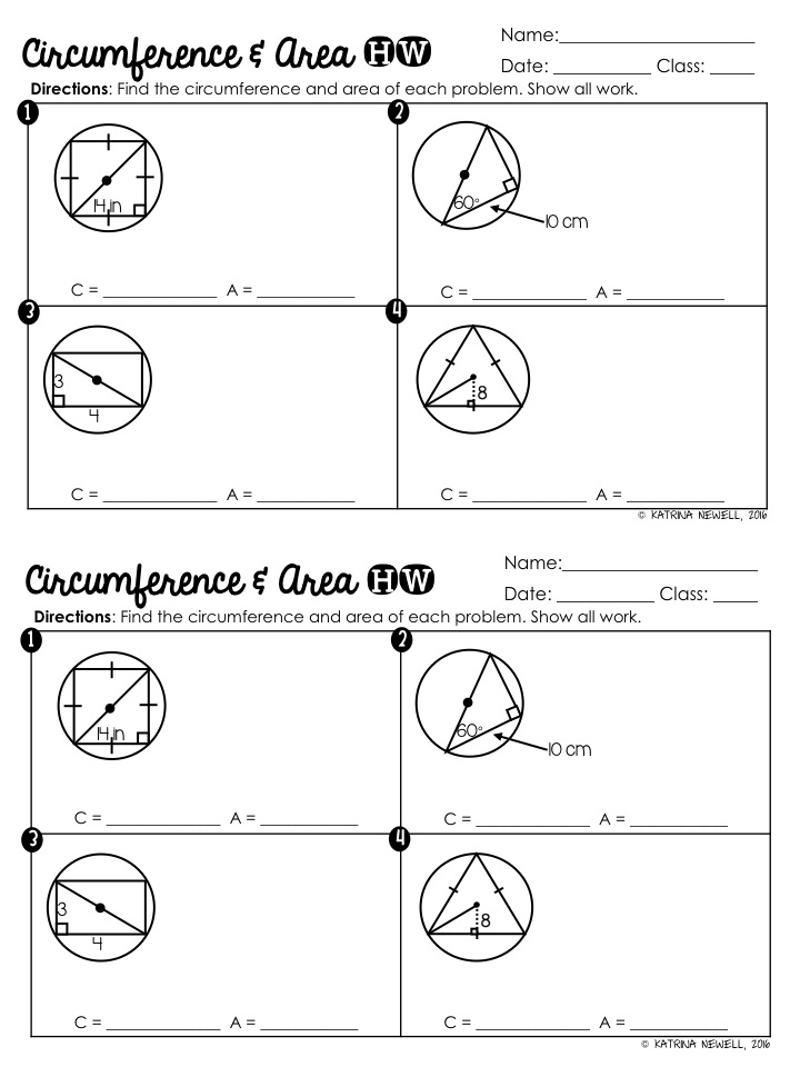 Circle Basics Unit Part 1 Mrs Newells Math – Circumference and Area of a Circle Worksheets