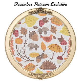 fall autumn cross stitch sampler