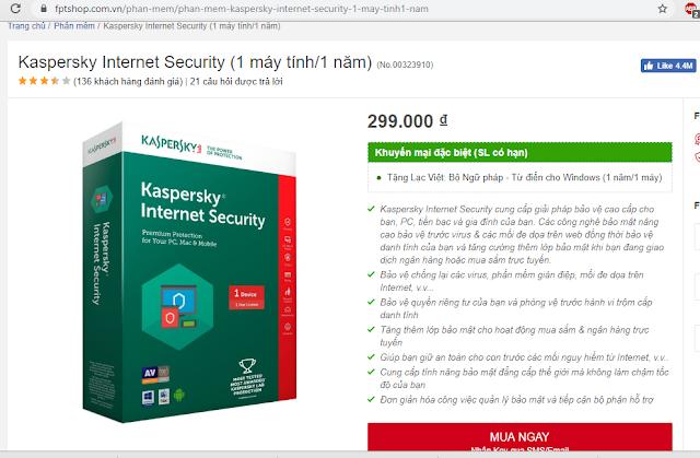 Mua key bản quyền diệt virut Kaspersky Internet Security ở đâu là rẻ nhất?