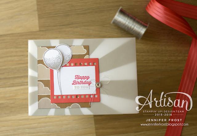 Shine On DSP, Balloon Celebrations, Sunburst Sayings, Stampin' Up! Artisan Blog Hop, Papercraft by Jennifer Frost