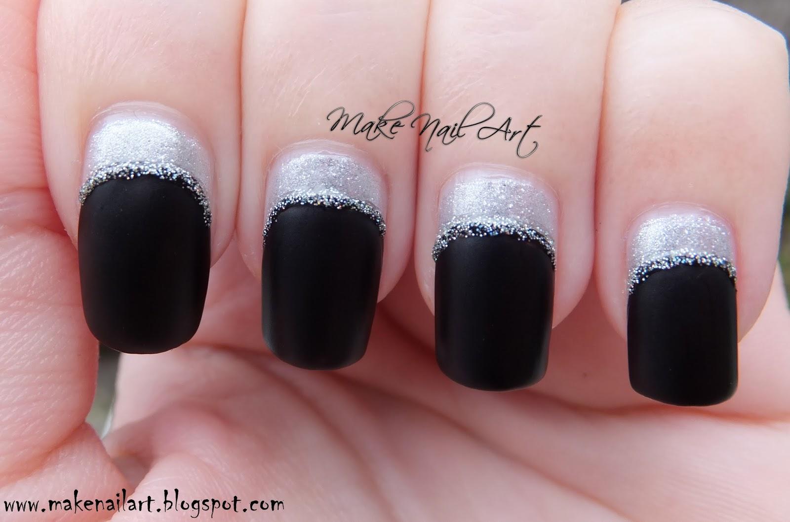 Make Nail Art: Easy Black And Silver Colour Blocking Nail Art Design