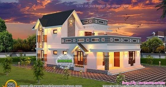 3 BHK 2500 sqft Kerala house plan Kerala home design
