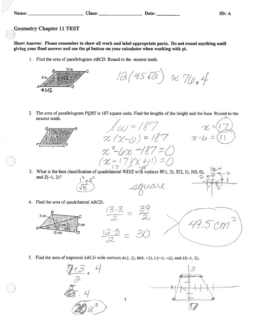 Math Classes Spring 2012: Geometry Chapter 11 Test #2 Answer Key