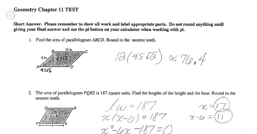 Math Classes Spring 2012: Geometry Chapter 11 Test #2 ...