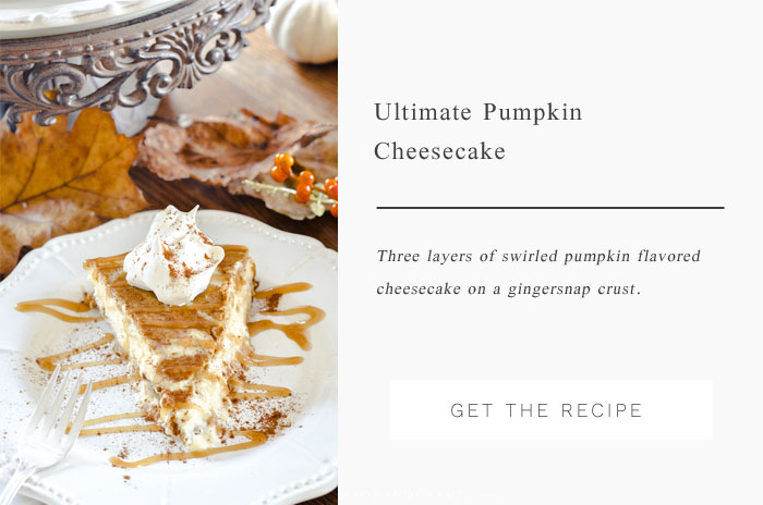 A great alternative to a fall Pumpkin Pie - This Ultimate Pumpkin Cheesecake recipe features three layers of cheesecake filling over a gingersnap crust.