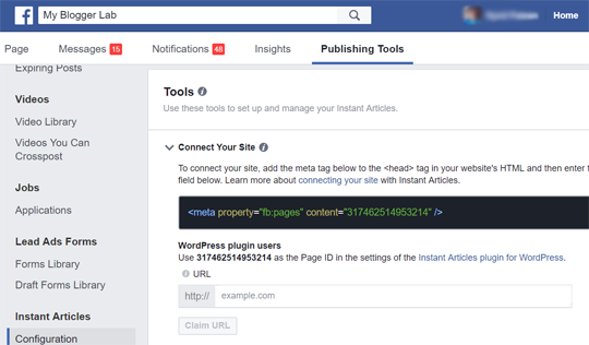 Code Snippet Connect your site Facebook Instant Articles