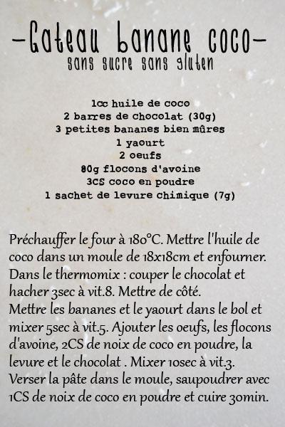 recette gateau sans sucre sans gluten spoonencore banane coco thermomix