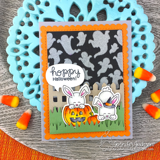 Newton's Nook Designs & Therm O Web Inspiration Week - Bunny Halloween card by Jennifer Jackson | Ghosts Stencil and Hoppy Halloween Stamp Set by Newton's Nook Designs | Flock Transer Sheets by Therm O Web #newtonsnook #thermoweb