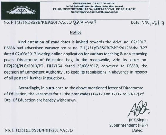 image : DSSSB Advt. No. 02/2017 : Withdrawn Notice for PGT, TGT & NTT @ TeachMatters