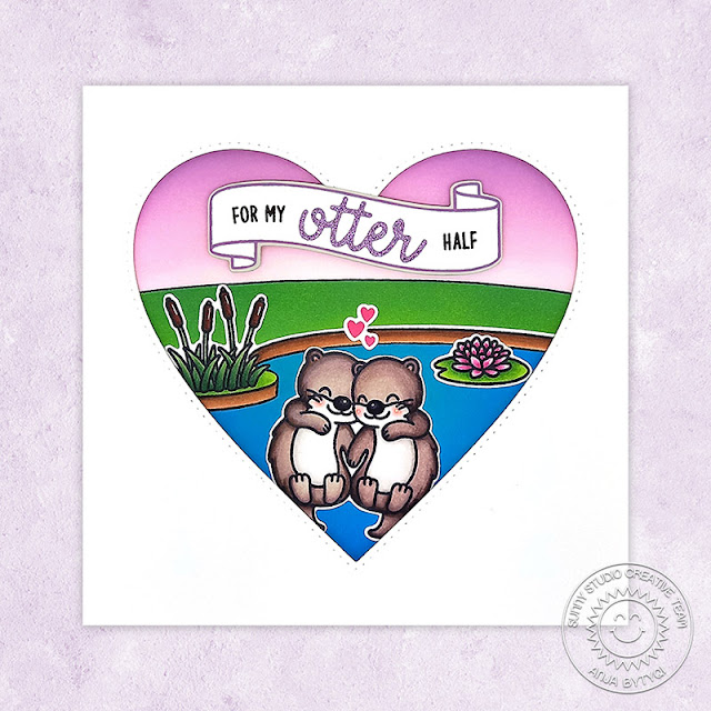 Sunny Studio Stamps: My Otter Half Country Scenes Stitched Heart Dies Card by Anja Bytyqi