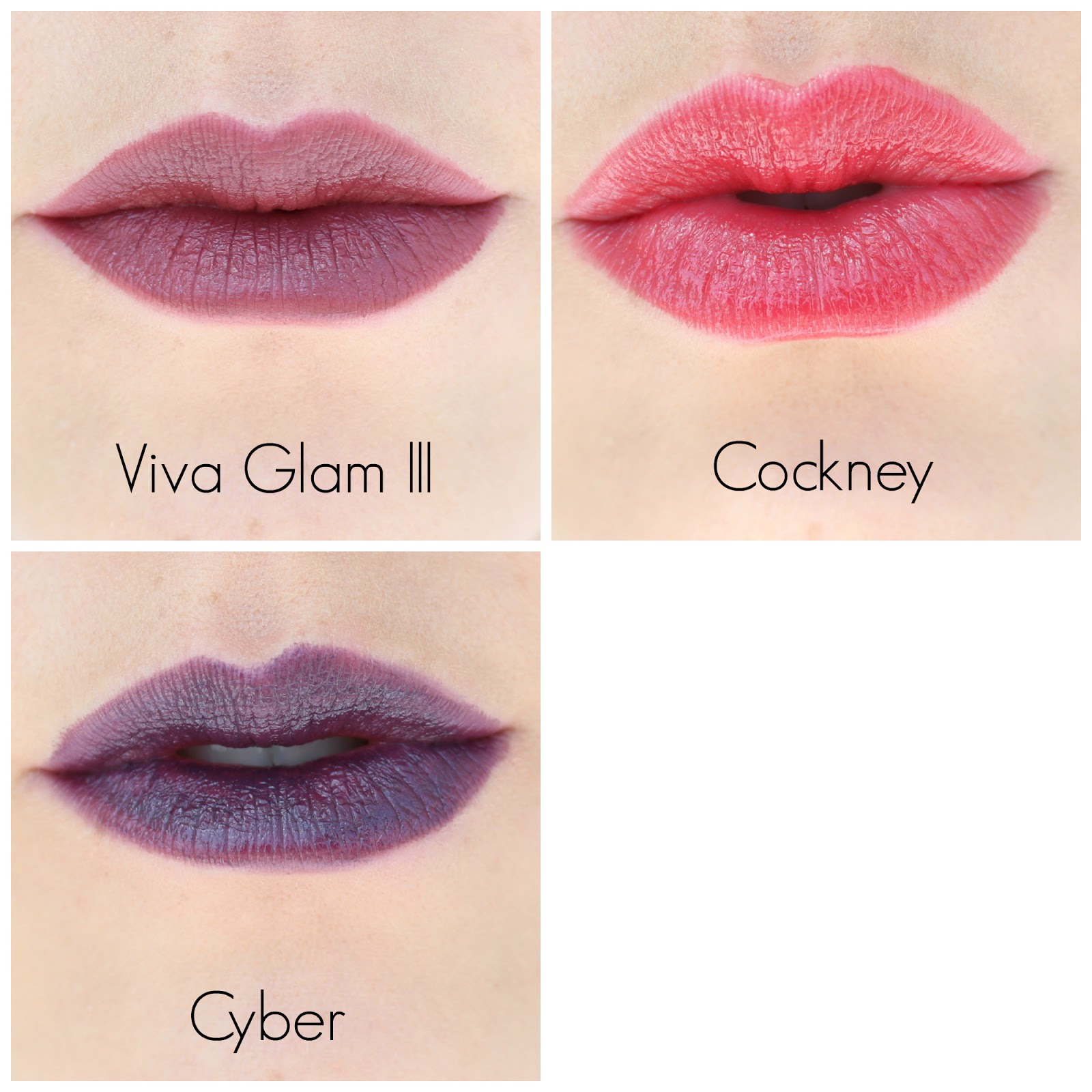 MAC Lipstick Swatches: Viva Glam 3  Cockney  Cyber