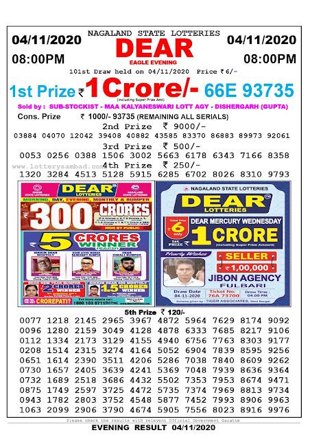 Lottery Sambad 04-11-2020, Lottery Sambad 8 pm results, Nagaland Lottery Results, Lottery Sambad Today Results Live, Night results