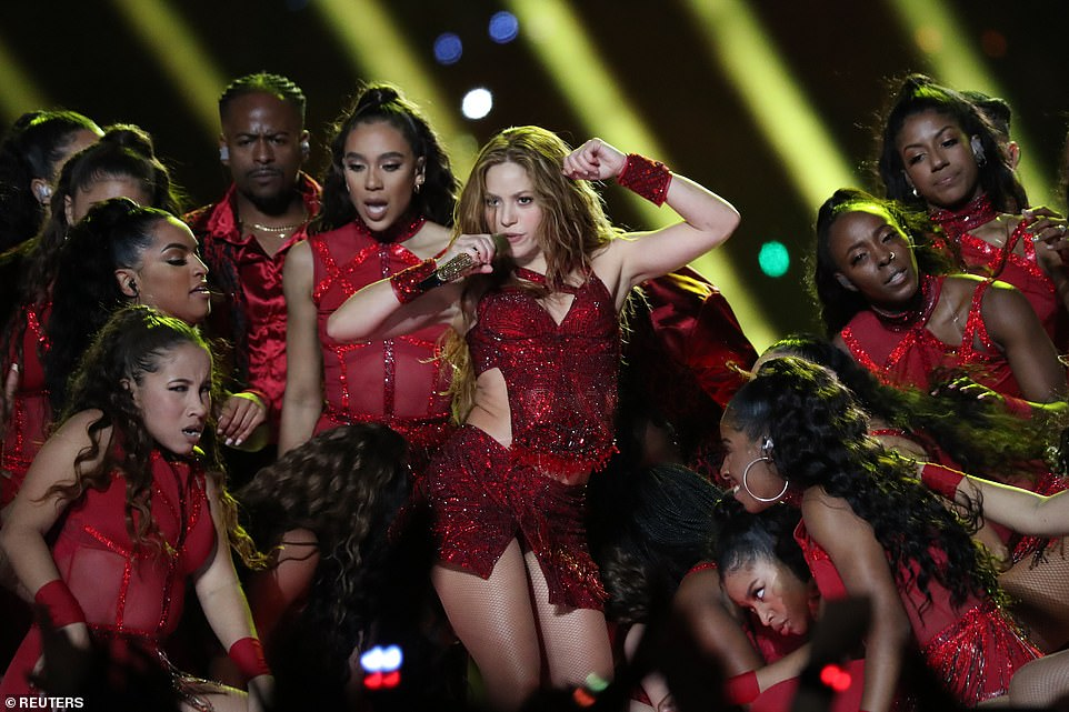 Shakira dazzled as she took the stage during the Super Bowl LIV half-time show on Sunday evening