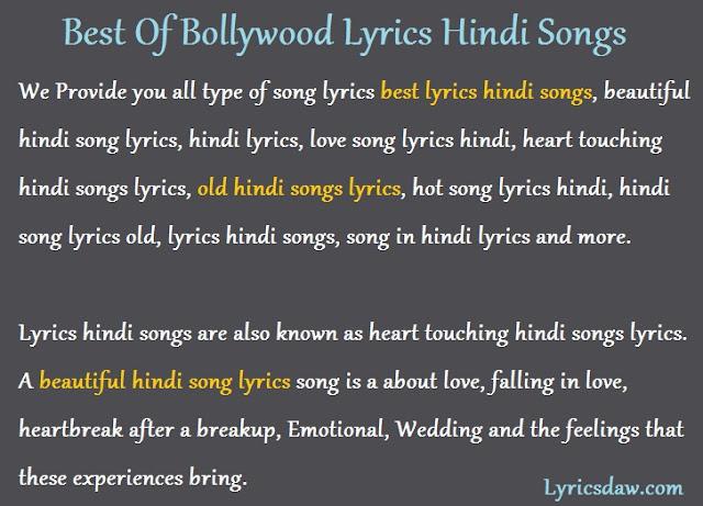 Best Of Bollywood Lyrics Hindi Songs