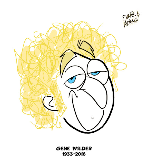 Gene Wilder cartoon caricature