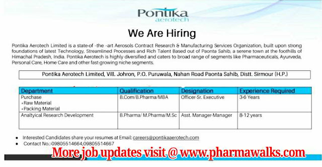 Pontika Areotech - Urgent hiring for  Purchase & AR&D departments