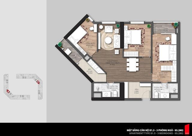 Thiết kế căn B1.5 diện tích 95,2m2 chung cư The Emerald