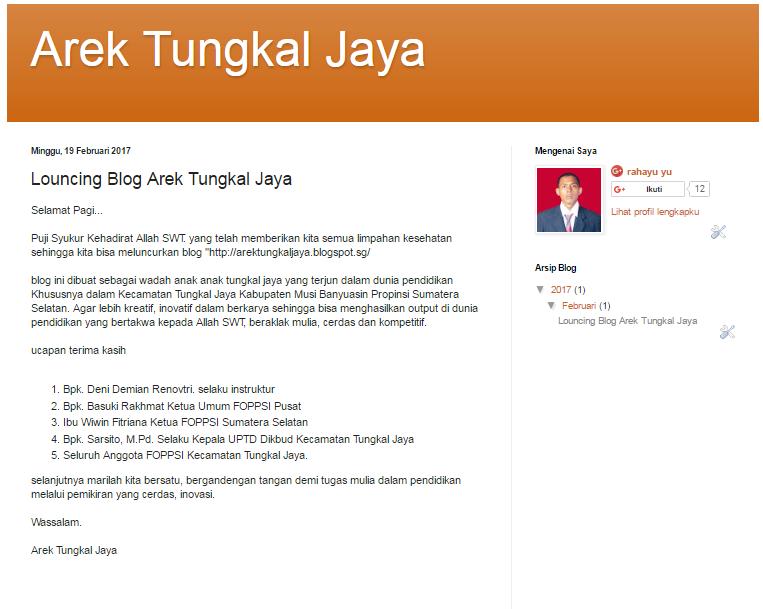 Louncing Blog Arek Tungkal Jaya Arek Tungkal Jaya